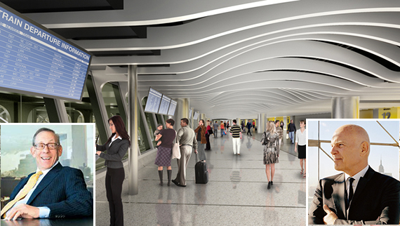 Rendering of Moynihan Station (inset: Stephen Ross and Steven Roth)