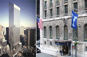 From left: Citicorp Tower at 601 Lexington Avenue and Yale Club of New York on Vanderbilt Avenue