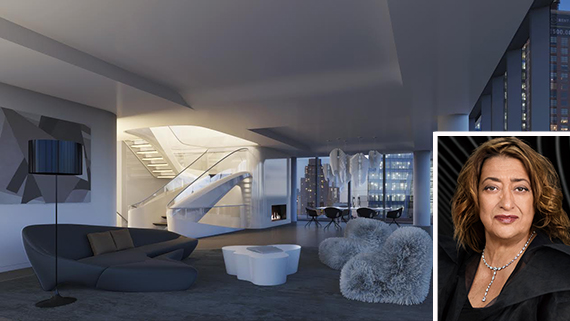 Rendering of the penthouse at 520 West 28th Street (inset: Zaha Hadid)