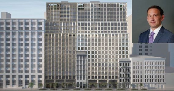 Rendering of 215 West 28th Street (inset: Eran Polack)
