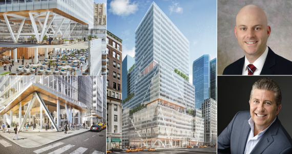 From left: renderings of 390 Madison Ave. (Inset top to bottom: Cushman's Ron Lo Russo, L&L's Robert Lapidus)