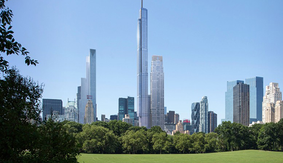 A rendering of luxury condo towers on 57th Street (credit: New York YIMBY)