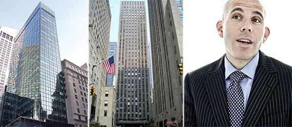 From left: 717 Fifth Avenue, 75 Rockefeller Plaza and RXR's Scott Rechler