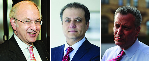 David Bistricer, Preet Bharara and Bill de Blasio