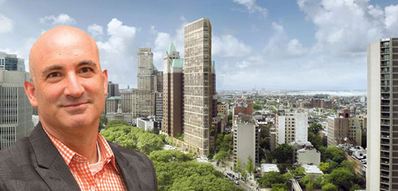 David Kramer and a rendering of 1 Clinton Street at the site of the Brooklyn Heights Library