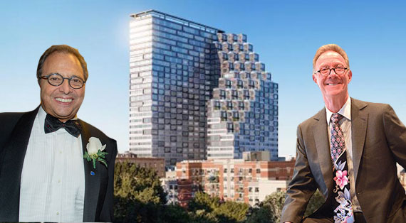 From left: Douglas Durst and Ian Bruce Eichner with a rendering of 1800 Park Avenue
