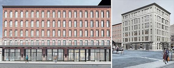 From left: Renderings of 60-68 Gansevoort Street and 70-74 Gansevoort Street