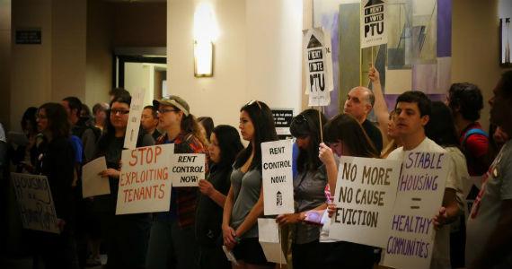 Portland, Oregon renters rallying for rent control (credit: libcom.org)