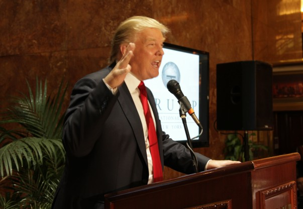 Donald Trump at the launch of Trump International Realty in 2012 (Credit: Zachary Kussin for The Real Deal)