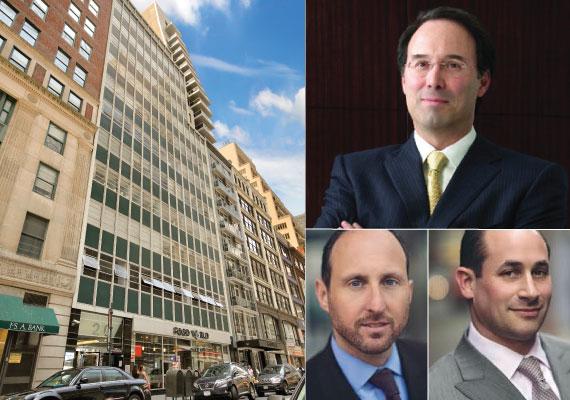 Clockwise: 20 East 46th Street, Extell's Gary Barnett, Nightingale Group's Elie Schwartz and Simon Singer