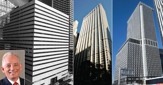 From left: 237 Park Avenue, 28 Liberty Street and One New York Plaza