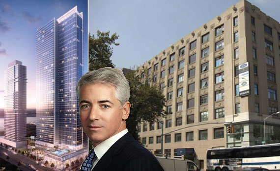 Moinian Group's Sky Rental Building and 787 11th Street (inset: Bill Ackman)
