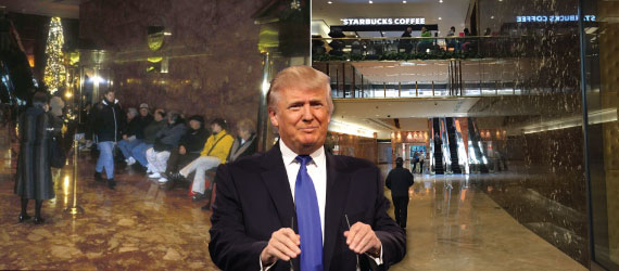 From Left: Trump Tower with bench and current Trump Tower without bench (photos from apps.mas.org) (inset: Donald Trump)