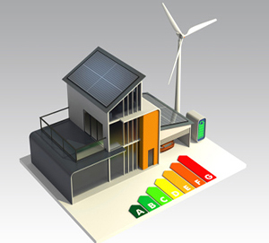 Energy efficient house with solar panel, wind turbine.