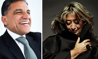 From left: Joseph Moinian and Zaha Hadid