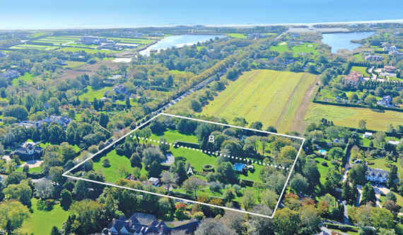 An 8-acre Southampton parcel was subdivided into two lots. The vacant 3.57-acre lot has sold, while the larger lot with a pool and cottage remains on the market.