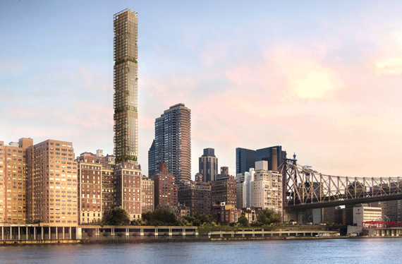 A rendering of Bauhouse Group's tall and skinny condo tower planned for East 58th Street