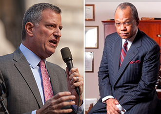 From left: Bill de Blasio and Calvin Butts