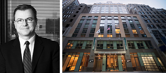 Rockwood's Peter Falco and the Hilton Homewood Suites at 312 West 37th Street in Times Square