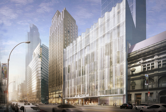 Rendering of the Nordstrom fl agship store and its main entrance on 57th Street. Inset: A view of the store from 58th Street.