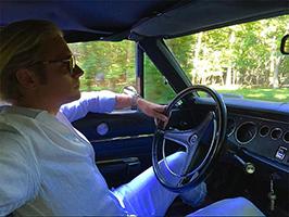 Kyle Rosko in his Mercedes (photo taken from Rosko's instagram @nycsilversurfer)