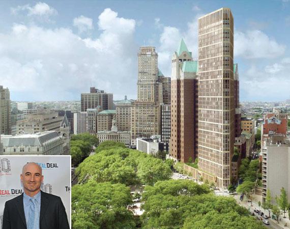 Rendering of 280 Camden Plaza West (credit: Marvel Architects) (inset: Hudson's David Kramer)