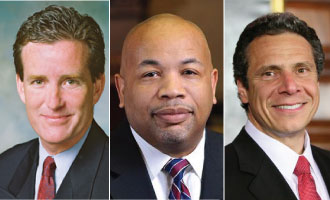 From left: John Flanagan, Carl Heastie, and Gov. Andrew Cuomo