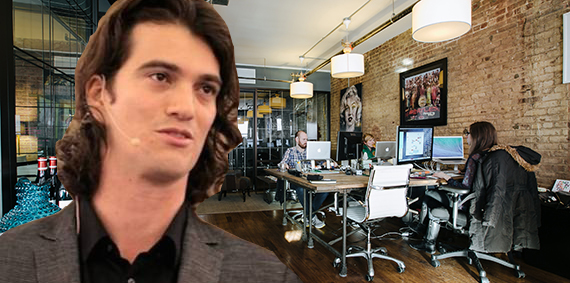 Adam Neumann and a WeWork space in Chelsea (Credit: WeWork)