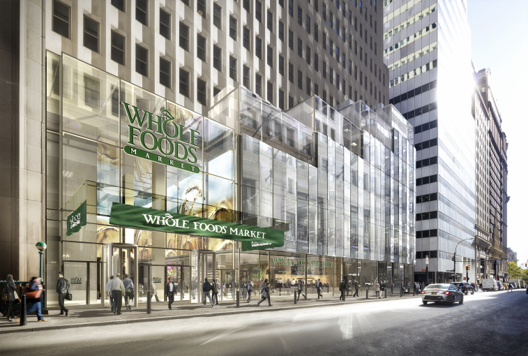 Rendering of Whole Foods at One Wall Street (credit: DBOX for Macklowe Properties)
