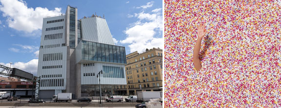 The Whitney Museum and the sprinkle pool at the Museum of Ice Cream