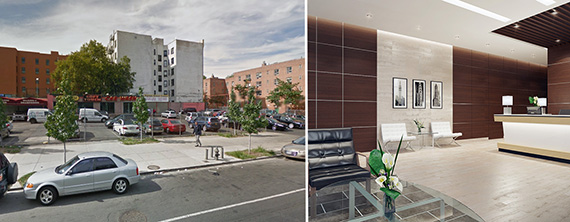From Left: 2600 Adam Clayton Powell Jr Boulevard and an interior rendering of the new building (credit: Tuss)