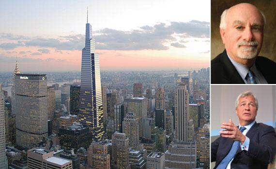 One Vanderbilt rendering (inset: JPMorgan Chase's Jamie Dimon and Wells Fargo's Alan Wiener)