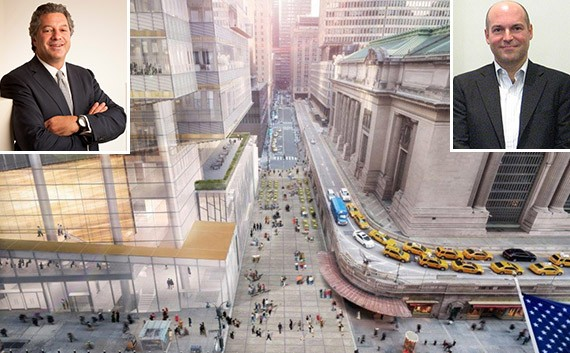 Rendering of One Vanderbilt in Midtown (credit: KPF) (inset, from left: Marc Holliday and Andrew Penson)