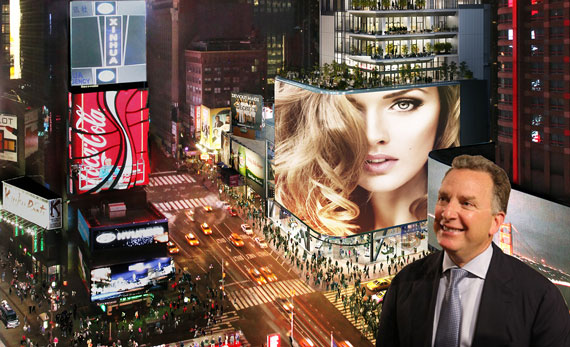 Rendering of 20 Times Square (rendering by ArX Solutions) (inset: Steve Witkoff)