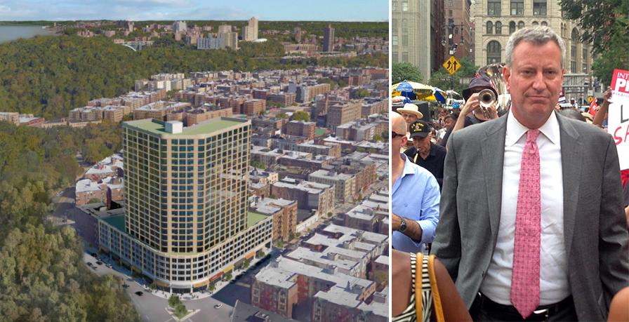 Rendering of 4650 Broadway (credit: Sherman Acadia Ave LLC/DCP) and Bill de Blasio