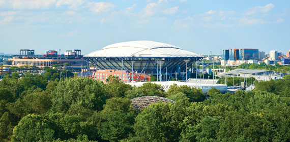 A view of the newly renovated Arthur Ashe Stadium roof when closed