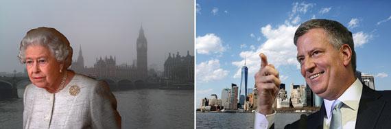 From left: London, Queen Elizabeth (Getty), New York City and Bill de Blasio