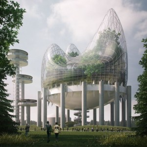 Sarah Wan and Aidan Doyle's 'Hanging Meadow,' the winning entry in a competition to reimagine the New York State Pavilion in Queens.