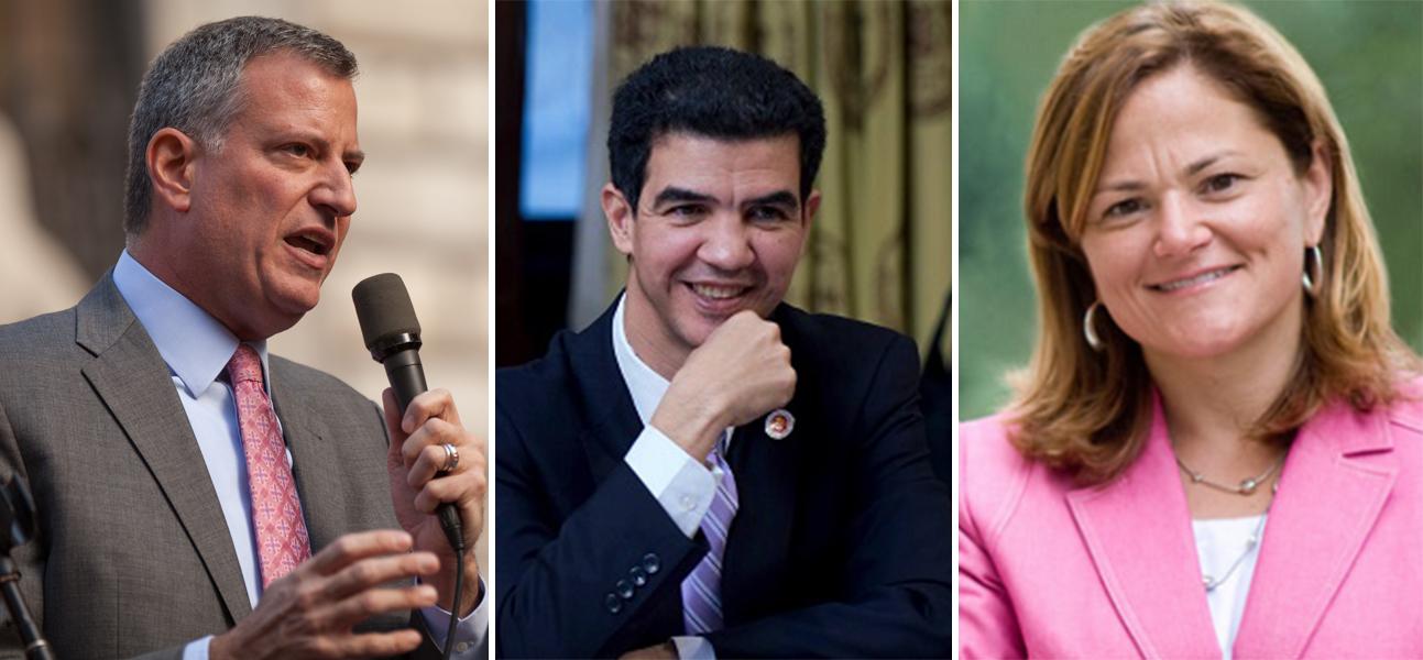 Bill de Blasio, Ydanis Rodriguez and Melissa Mark-Viverito