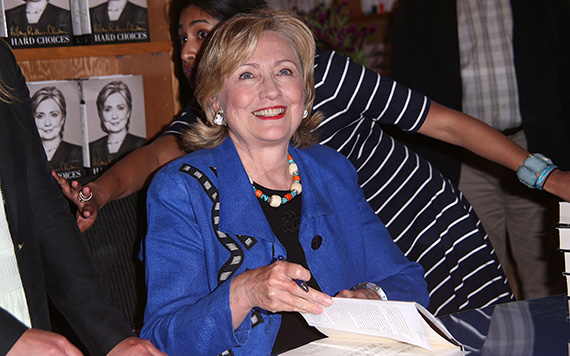 Hillary Clinton at an East Hampton bookstore in 2014 (Credit: Getty)