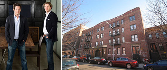 From left: Terrence Lowenberg, Todd Cohen and 36 Linden Street in Bushwick