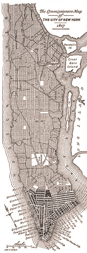 A modern redrawing of the 1807 grid plan for Manhattan before it was adopted in 1811.