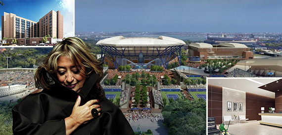 Rendering of the National Tennis Center (credit: Rossitti) (inset from left: Zaha Hadid and