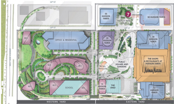 A depiction of the Hudson Yards master plan (Credit: Hudson Yards)