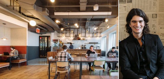 WeWork space in Brooklyn Heights (credit: WeWork) and Adam Neumann