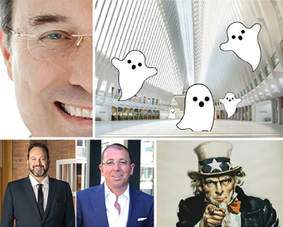 From clockwise: Gary Barnett, Westfield Mall at the World Trade Center, Uncle Sam, Joseph Sitt and Andrew Heiberger