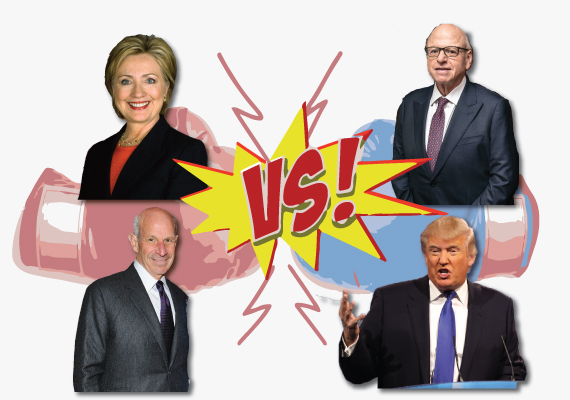 Hillary Clinton, Howard Lorber and Jonathan Tisch (credit: graphic by Lexi Pilgrim)