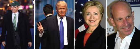 From left: , Donald Trump, Hillary Clinton and Jonathan Tisch