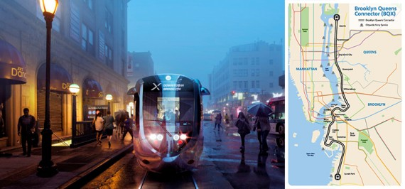 Rendering of the streetcar and the streetcar map