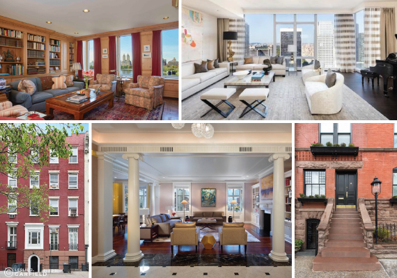 From clockwise: 1133 Fifth Avenue, 20 West 53rd Street, 142 East End Avenue, 820 Park Avenue and 301 East 10th Street